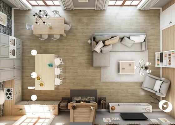Návrh interieru hlavního prostoru ve srubovém domě