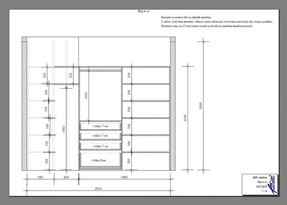 Vestavná skříň se šoupacími dveřmi - 2.9 m