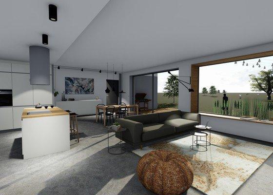 Vizualizace návrhu interiéru novostavby RD pro mladou rodinu