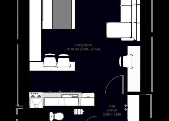 Malování celého bytu 1+kk 34 m²