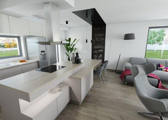 Návrh obývacího pokoje s kuchyní a jídelnou