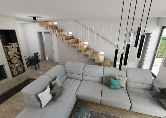 Návrh obývacího pokoje a kuchyně.