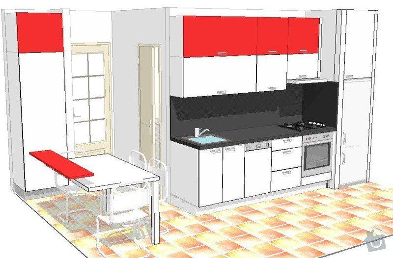 Kuchyňská linka, jídelní stůl, dveře na spížku, spotřebiče: HUDCOVI_V1