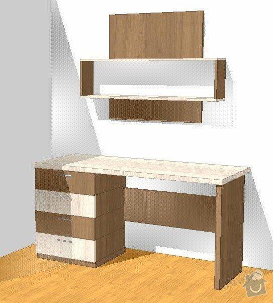Vestavěná skříň, obyváková stěna, psací stůl s policí: KLENOVSKY_V1