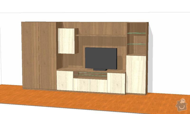 Vestavěná skříň, obyváková stěna, psací stůl s policí: KLENOVSKY_V2-3
