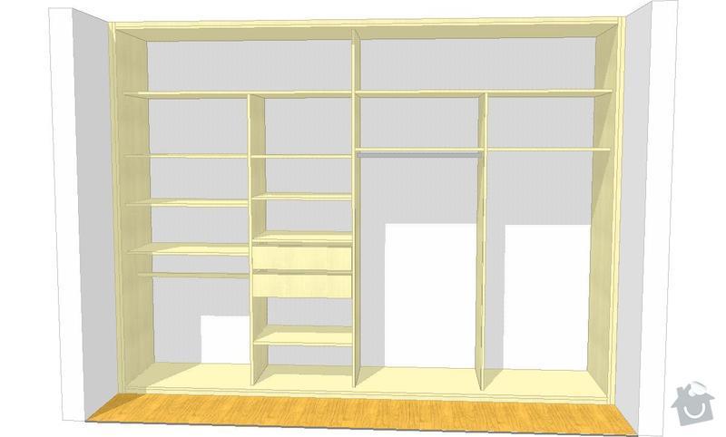Vestavěná skříň, obyváková stěna, psací stůl s policí: KLENOVSKY_V4