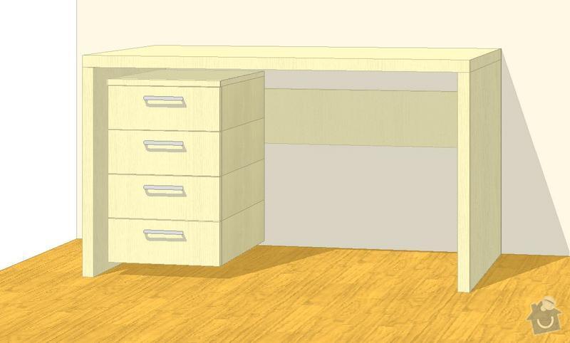 Nábytek do dvou studentských pokojů - vestavěné skříně, psací stoly, police: SKLENAROVA_V6