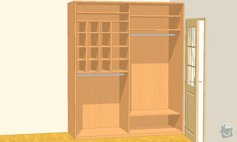 Nábytek do dvou studentských pokojů - vestavěné skříně, psací stoly, police: SKLENAROVA_V7