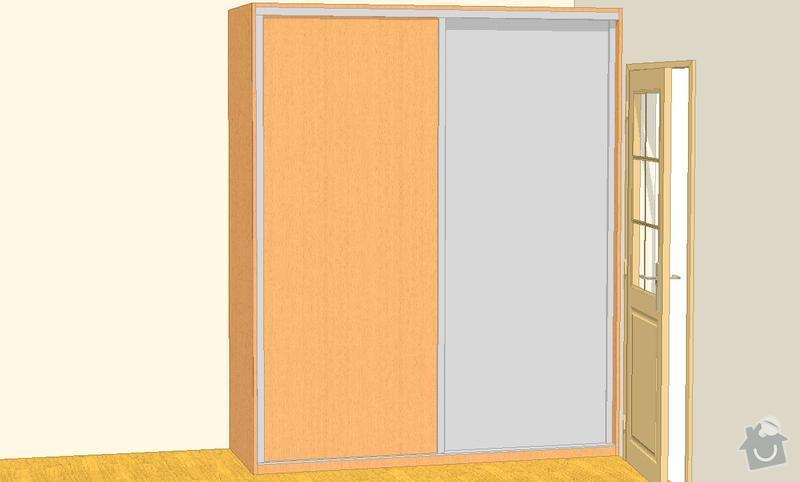 Nábytek do dvou studentských pokojů - vestavěné skříně, psací stoly, police: SKLENAROVA_V_7
