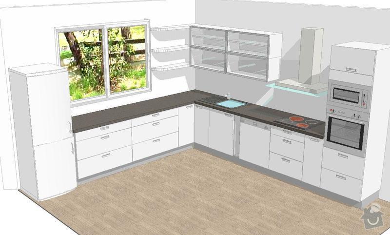 Kuchyňská linka, pracovní místnost, psací stůl, šatna: SUCHANKOVA_V1