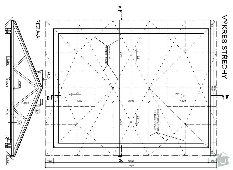 Pokládka střechy 150 m2: Vykres_strechy