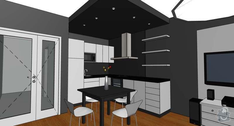 Sádrokartonová příčka a podhled: kuchyn