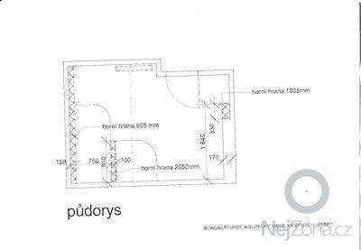 Kompletní rekonstrukce koupelny v RD: Pudorys