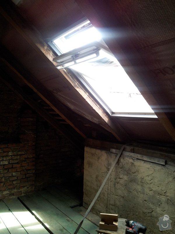 Montáže sádrokartonu v podkroví RD, suché podlahy Fermacell s podsypem, nové rozvody vody, odpadů, topení, nové rozvody elektro, zednické práce, úpravy krovů...: 05