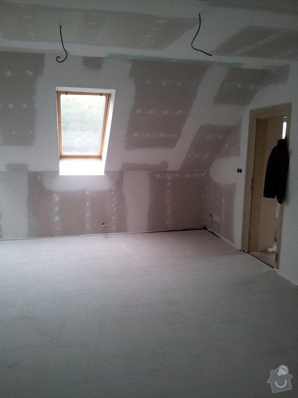 Montáže sádrokartonu v podkroví RD, suché podlahy Fermacell s podsypem, nové rozvody vody, odpadů, topení, nové rozvody elektro, zednické práce, úpravy krovů...: 006