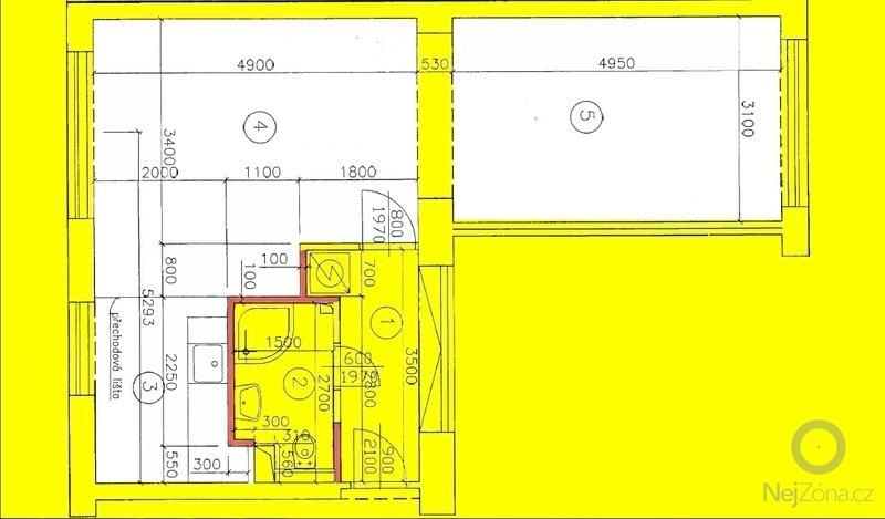 Oprava stropu a drobné úpravy elektro v bytě: pudorys