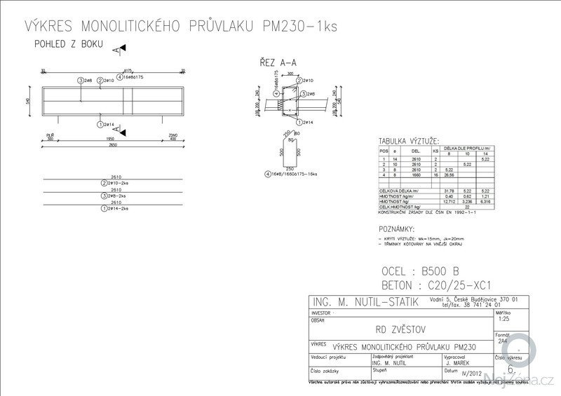 Statický posudek dokumentace pro stavební povolení: MONOLITICKExPRUVLAKY-1-25_A3_6