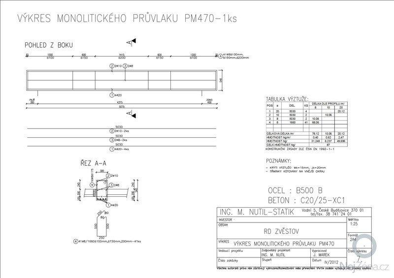 Statický posudek dokumentace pro stavební povolení: MONOLITICKExPRUVLAKY-1-25_A3_7