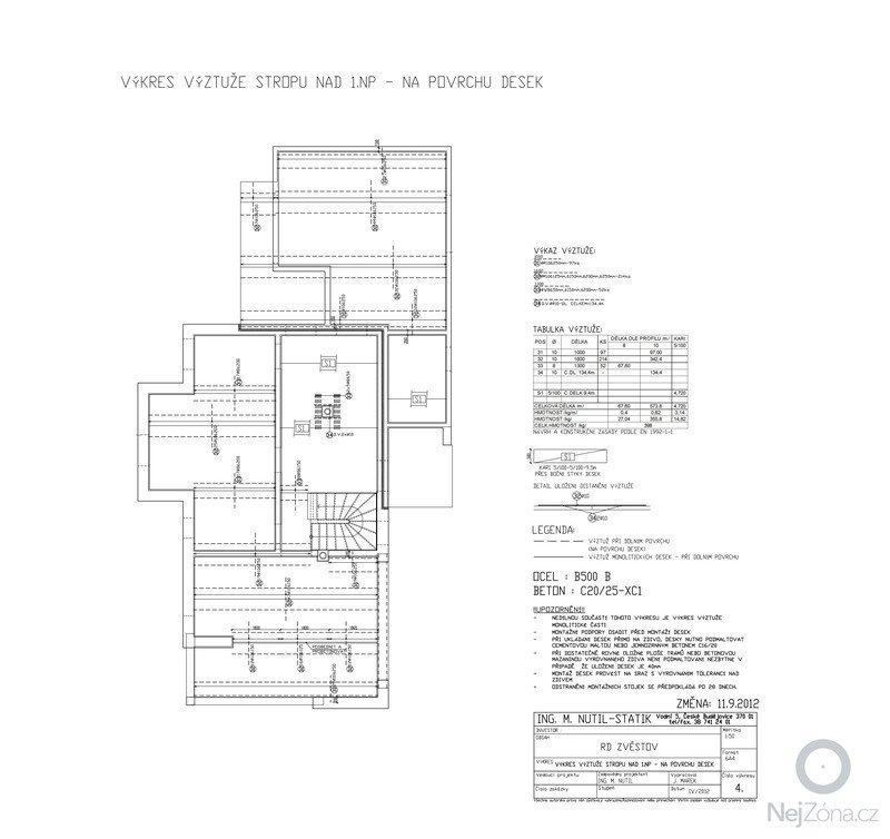Statický posudek dokumentace pro stavební povolení: VYZTUZxSTROPUx1NPxZMENAxDOLNIIxVYZTUZ