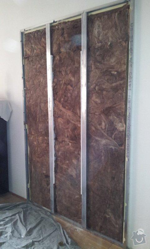 Odhlučnění pokojové stěny 18m2 -sousedí se schodištěm v bytovém domě + zaizolování dveří mezi dvěma pokoji (také kvůli hluku): 20121120_143311