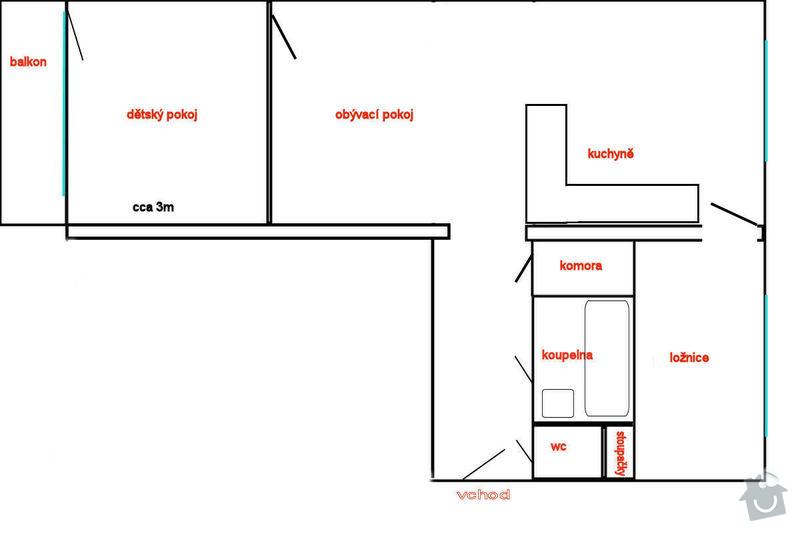 Rekonstrukce bytu, změna dispozic ze 2+1 na 3+kk: pudorys_po