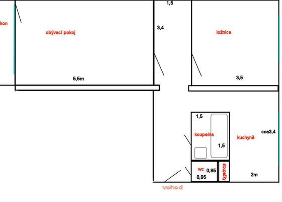 Rekonstrukce bytu, změna dispozic ze 2+1 na 3+kk