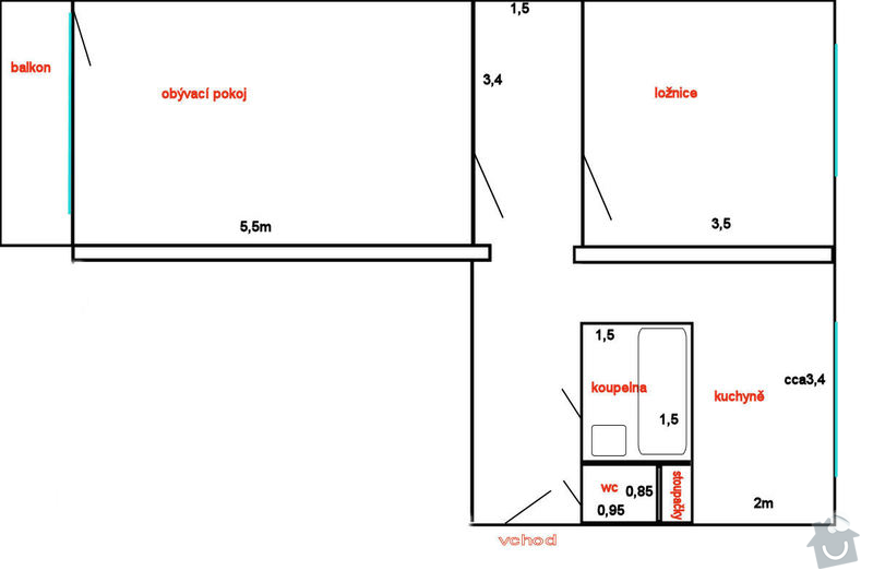 Rekonstrukce bytu, změna dispozic ze 2+1 na 3+kk: pudorys_pred
