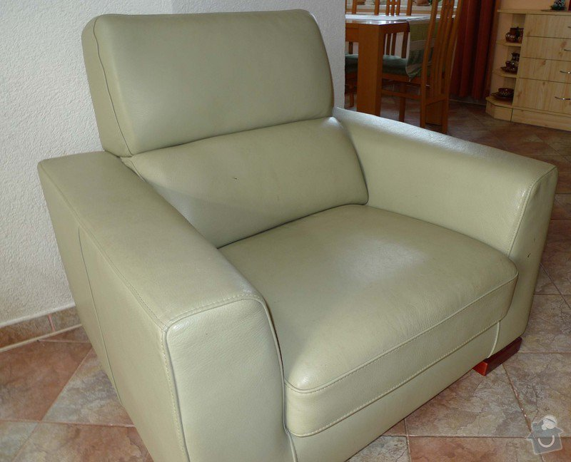 Vyčištění kožené sedačky barva hrášková: P11009488