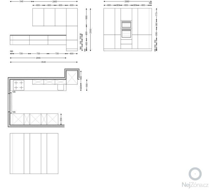 Výroba kuchyňské linky + obklad stěny: Kuchyne_Psary_celni_pohled_pudorys
