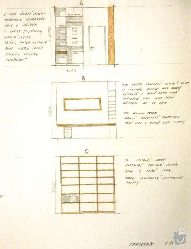 Stůl a policový systém do pracovny: pracovna_nabytek