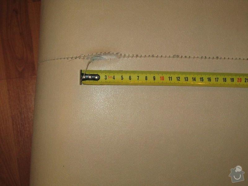 Oprava švu koženkové sedačky: detail_diry