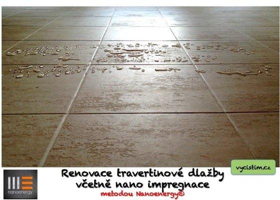Renovace a čištění travertinové dlažby, nano impregnace travertinu.