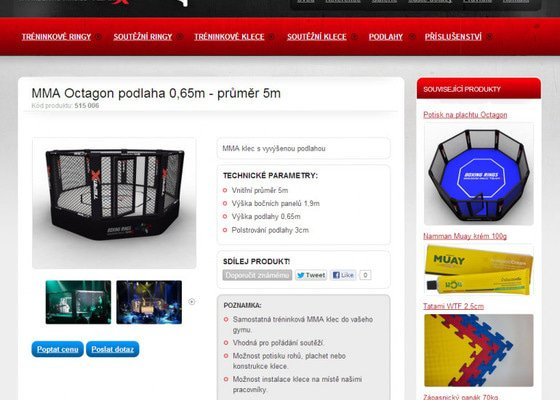 Tvorba www stránek pro prodej boxerských ringů a MMA klecí