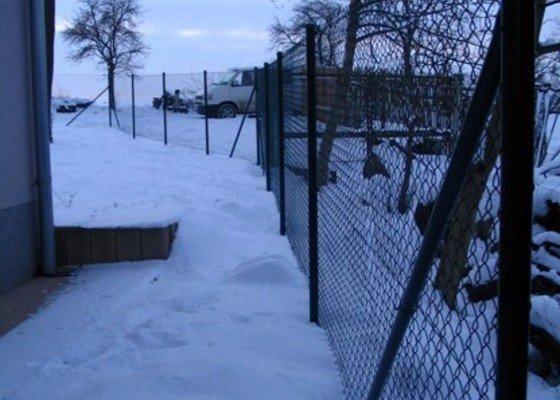 Asi 30 metrů drátěného plotu, bez podezdívky, branku