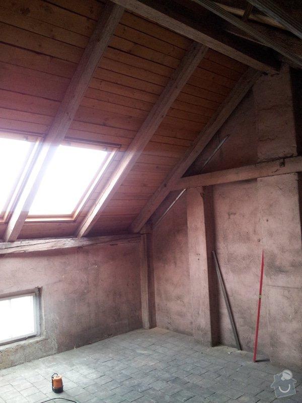 Montáže sádrokartonu, rekonstrukce podkroví, suché podlahy s podsypem Fermacell,výměna střešního okna, montáž poudra Eclisse pro posuvné dveře do SDK příčky.: Podkrovi_1