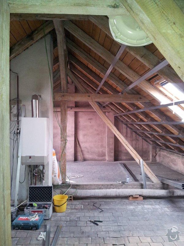 Montáže sádrokartonu, rekonstrukce podkroví, suché podlahy s podsypem Fermacell,výměna střešního okna, montáž poudra Eclisse pro posuvné dveře do SDK příčky.: Podkrovi_7