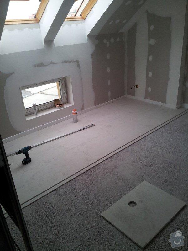 Montáže sádrokartonu, rekonstrukce podkroví, suché podlahy s podsypem Fermacell,výměna střešního okna, montáž poudra Eclisse pro posuvné dveře do SDK příčky.: Podkrovi_11