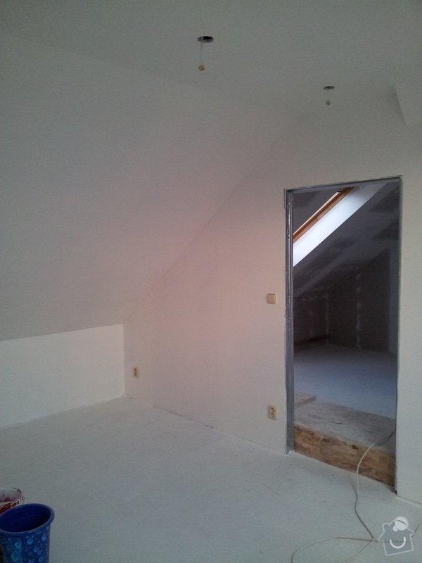 Montáže sádrokartonu, rekonstrukce podkroví, suché podlahy s podsypem Fermacell,výměna střešního okna, montáž poudra Eclisse pro posuvné dveře do SDK příčky.: Podkrovi_44