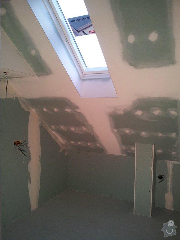 Montáže sádrokartonu, rekonstrukce podkroví, suché podlahy s podsypem Fermacell,výměna střešního okna, montáž poudra Eclisse pro posuvné dveře do SDK příčky.: Koupena_WC_2