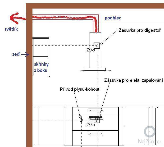 Instalace digestoře a odtahu: digestor