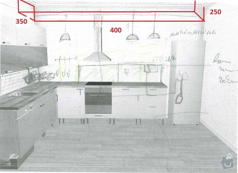 Sádrokartonový podhled nad kuchyňskou linku 400x25x35 cm: kuchyne2