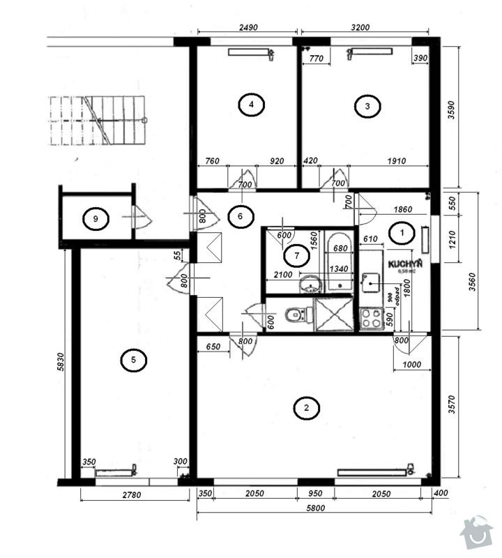 Vystěrkovat panelákový byt cca 70m2: Pudorys