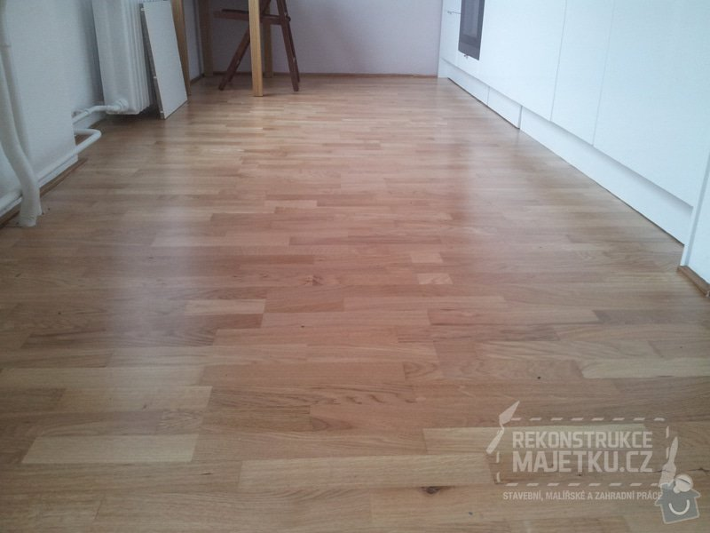 Demontáž umakartového jádra,Demontáž podlahy,Vyrovnání povrchu,pokládka plovoucích parket,montáž nábytku: 30
