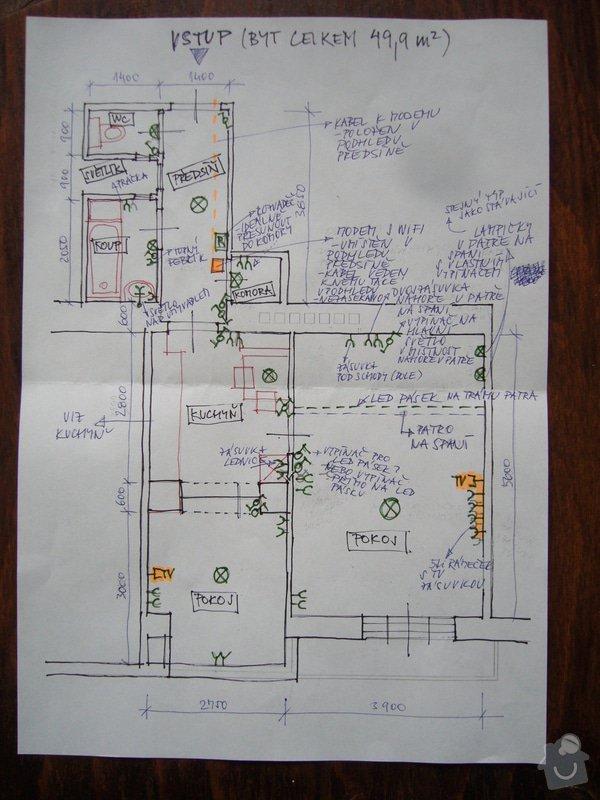 Rekonstrukce elektroinstalací v bytě: ele1