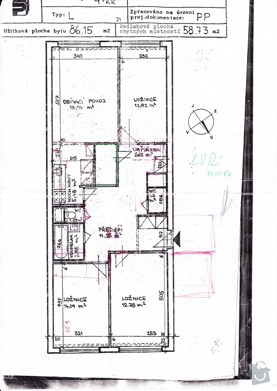 Bourání příčky a vybudování komory: byt-nakres-po-uprave