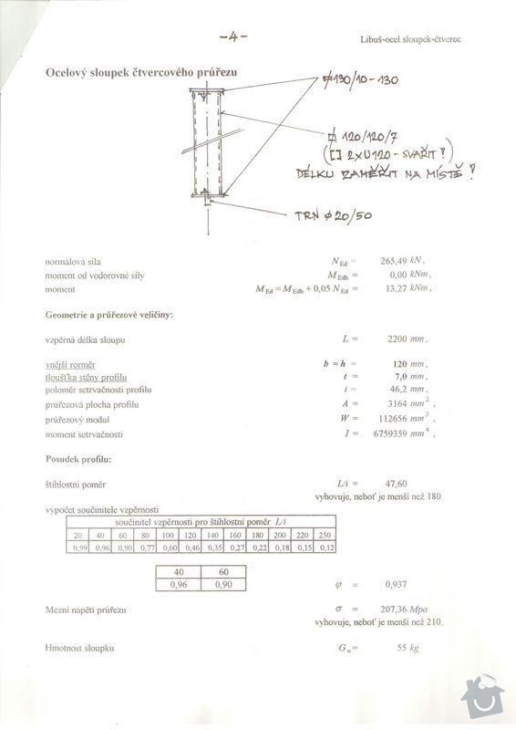 Vyříznutí části nosné zdi dle projektu (dělící zeď v panelovém 1+1 o delce cc 2,4 m) včetně instalace nosných ocelových výztuh: Staticky_vypocet_3