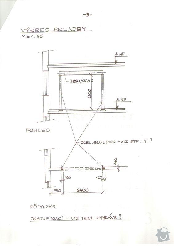 Vyříznutí části nosné zdi dle projektu (dělící zeď v panelovém 1+1 o delce cc 2,4 m) včetně instalace nosných ocelových výztuh: Staticky_vypocet_4