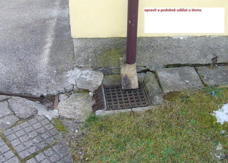 Výměna obrubníků u chodníku, připojení okapu do odpadů: odtok_u_garaze