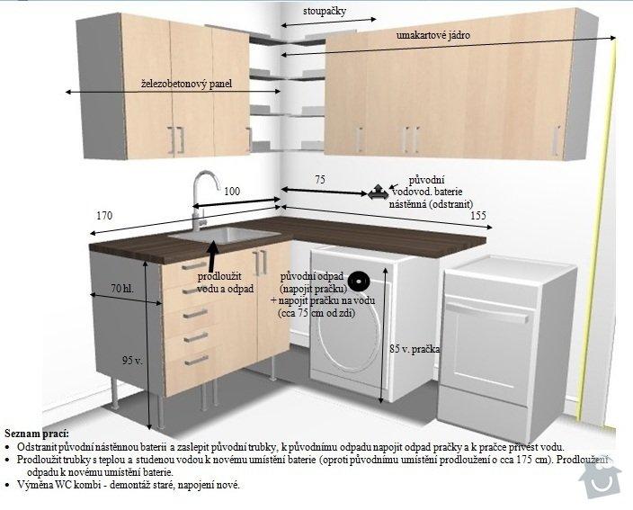 Přepojení vody a odpadů v kuchyni, výměna wc: Instalace