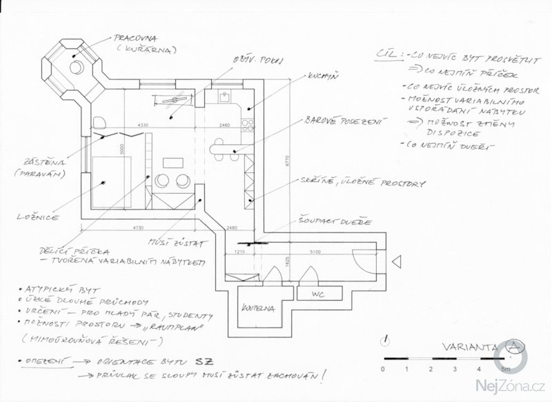 Kompletní rekonstrukce bytu 1+1, 61m2: varianta_A
